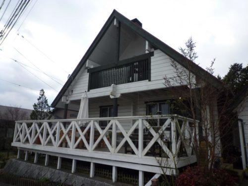 朝倉市美奈宜の杜、コテージ風住宅の塗装工事前