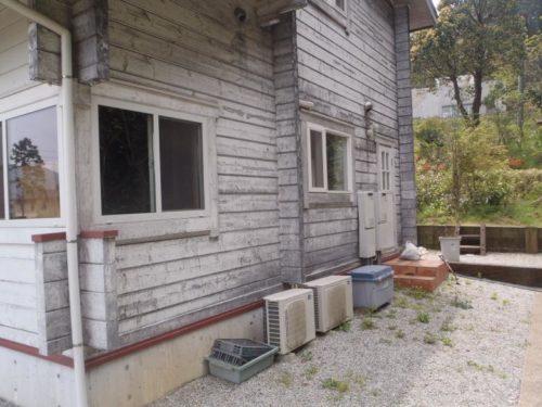 糸島市雷山、木製の壁施工前